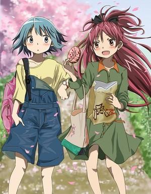 Younger Sayaka and Kyoko
