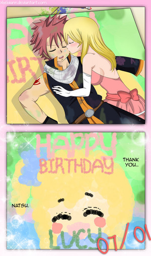 super cute foto even though im late but still happy bday Lucy feat.NaLu