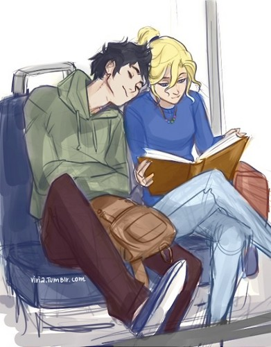 Percy Jackson & The Olympians boeken achtergrond with anime called *Percabeth*