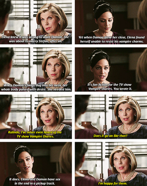 """The Good Wife"" reads DE fanfiction"