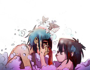 2-D & Noodle in the bath