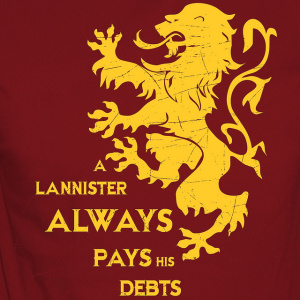 গেমস্‌ অব্‌ থ্রোনস্‌ দেওয়ালপত্র possibly with a jersey, a sweatshirt, and a long sleeve titled A Lannister always pays his debts