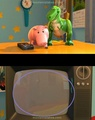 A mistake in toy story 2. Rex's and ham's reflection doesn't show on the tv but everything else does - pixar photo