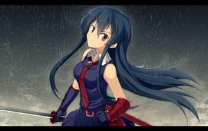Akame in the rain