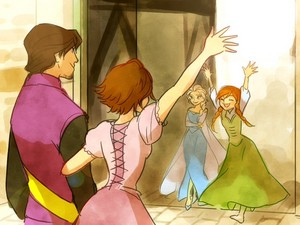 Anna and Elsa welcoming Rapunzel and Eugene