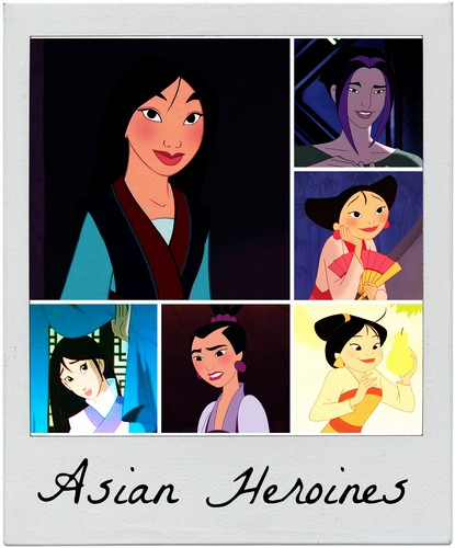 Childhood Animated Movie Heroines karatasi la kupamba ukuta called Asian Heroines