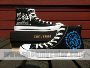 Black Butler Hand Painted कॉनवर्स High चोटी, शीर्ष Black Shoes