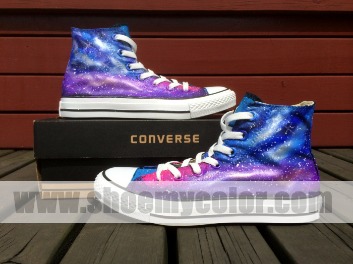100% authentic b0201 84c37 Blue Purple Galaxy Black Converse All Star Sneaker Custom Hand Painted High  Top Canvas Shoes