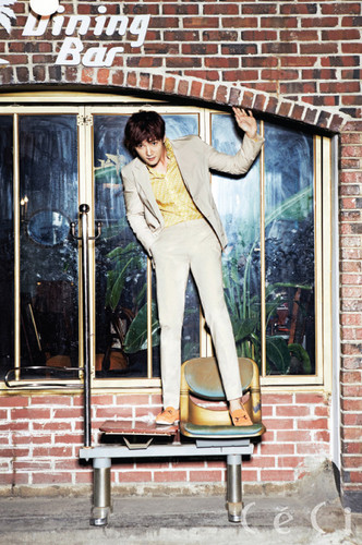 Choi Jin Hyuk wallpaper possibly containing a street, a fanlight, and a revolving door titled Choi Jin Hyuk for 'CéCi' August 2014 Issue