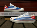 Cuba Flag White Low Top Converse Canvas Hand Painted Shoes