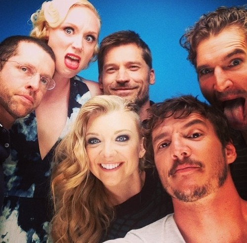Game of Thrones wallpaper containing a portrait entitled D.B. Weiss, Gwendoline Christie, Nikolaj Coster-Waldau, Natalie Dormer, Pedro Pascal, David Benioff
