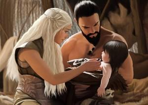Daenerys, Khal Drogo and Rhaego