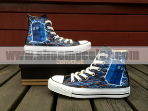 Doctor Who Converse Canvas High bahagian, atas Hand Painted Shoe