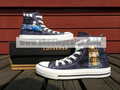 Doctor Who Dalek Navy Blue High Top Converse Canvas Hand Painted Shoe