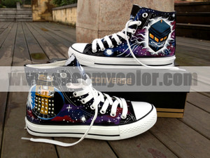 Doctor Who Tardis Black High top, boven Converse Canvas Hand Painted Shoe
