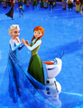 Elsa, Anna and Olaf skating