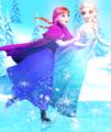 Elsa and Anna skating