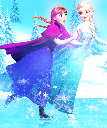 Frozen wallpaper entitled Elsa and Anna skating
