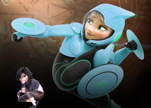 Big Hero 6 Hintergrund titled Elsa as GoGo Tomago