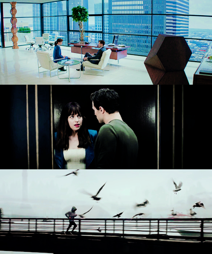 Fifty Shades-Trilogie Hintergrund with a sign, a living room, and a window sitz titled Fifty Shades ♥