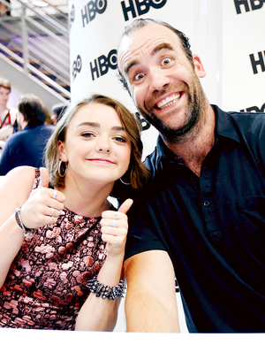 Rory McCann and Maisie Williams