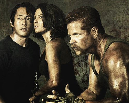 The Walking Dead wallpaper probably containing a hunk titled Glenn, Maggie, and Abraham