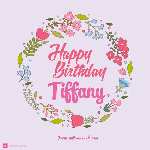 Girl's Generation/SNSD karatasi la kupamba ukuta possibly with a venn diagram titled Happy Birthday Tiffany