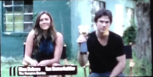 Ian Somerhalder and Nina Dobrev accepting their award for MTV's Ship of the Jahr