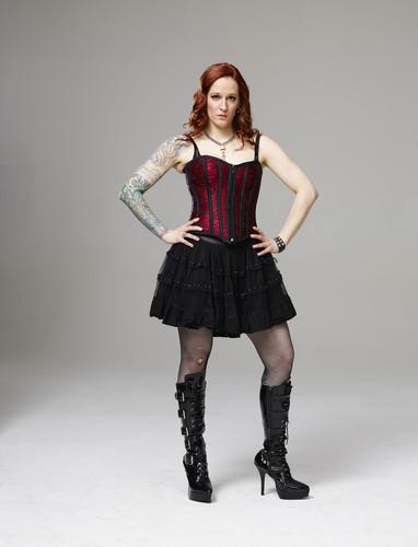 Ink Master wallpaper probably with hosiery, bare legs, and a hip boot called Ink Master | Season 5: Rivals | Caroline Evans