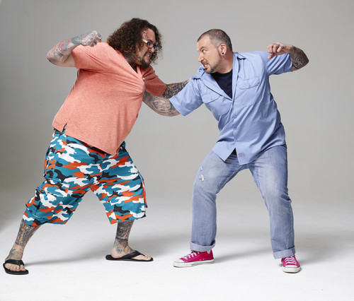 Ink Master wallpaper probably containing long trousers, a pantleg, and a well dressed person entitled Ink Master | Season 5: Rivals | Robbie vs Jayvo