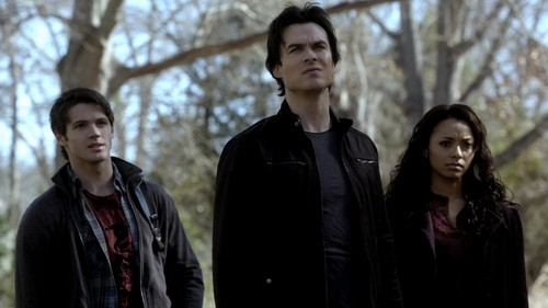 The Vampire Diaries Couples 壁纸 possibly with a well dressed person, an outerwear, and a leisure wear called Jeremy Bonnie and Damon