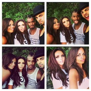 Jesy with Sam and some of their dancers at the пляж, пляжный today
