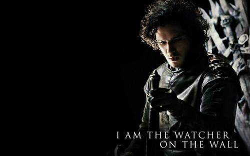 왕좌의 게임 바탕화면 containing a 음악회, 콘서트 called Jon Snow/The watcher on the 벽