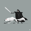 Jon Snow and Ghost (GOT)