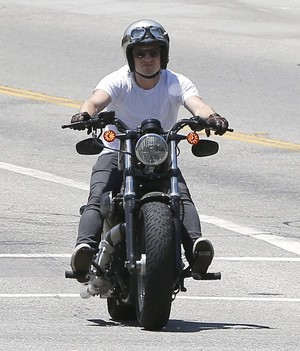Josh Hutcherson riding his motorcycle in Los Angeles - July 31, 2014.