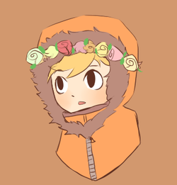Kenny with a цветок crown.