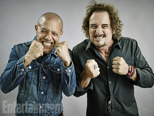 Sons Of Anarchy wallpaper probably containing a well dressed person, a business suit, and an outerwear titled Theo Rossi and Kim Coates @ Comic-Con 2014