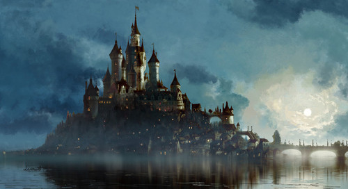 Tangled achtergrond called Kingdom of Corona Concept Art
