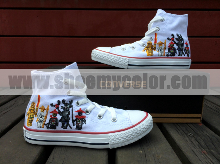 LEGO Ninjago White High سب, سب سے اوپر Converse Canvas Hand Painted Shoe
