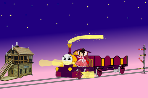 Thomas the Tank Engine Hintergrund called Lady and Vanellope travel through the Night
