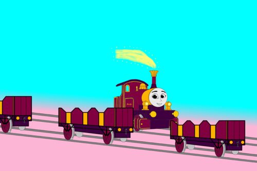 Tomy Thomas And Friends wallpaper called Lady passes the other Line of Open-Topped Carriages