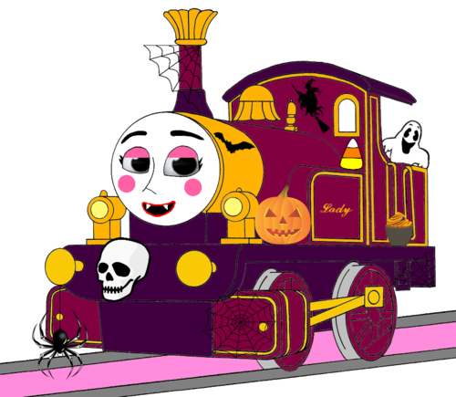 Thomas the Tank Engine wallpaper probably containing a sign and Anime titled Lady with Halloween Decorations (Mirrored)