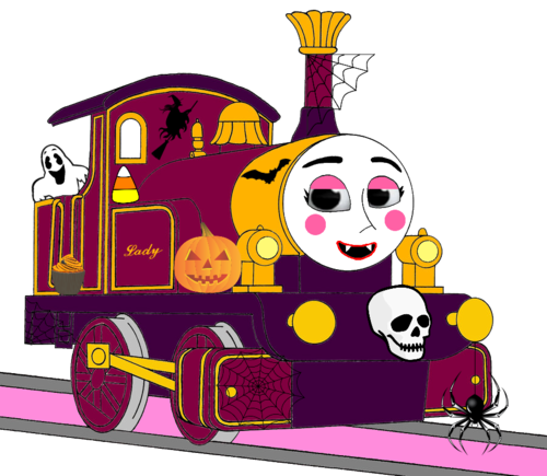 Thomas the Tank Engine Hintergrund probably containing a sign and Anime called Lady with Halloween Decorations
