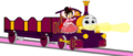 Lady with Princess Vanellope, her Open-Topped Carriage & Shining goud Lamps