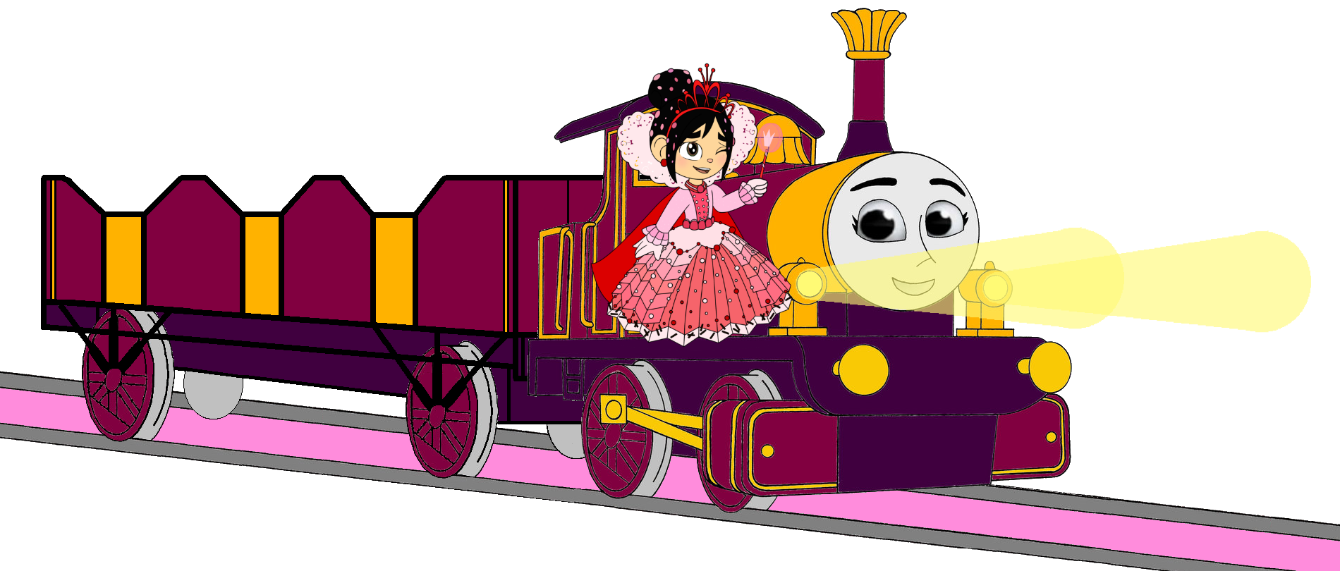 Lady with Princess Vanellope, her Open-Topped Carriage & Shining Gold Lamps