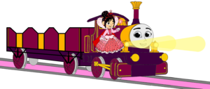 Lady with Princess Vanellope, her Open-Topped Carriage & Shining 金牌 Lamps