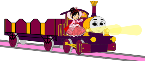 Thomas the Tank Engine wallpaper entitled Lady with Princess Vanellope, her Open-Topped Carriage & Shining Gold Lamps