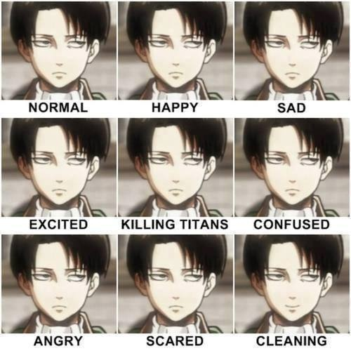 Shingeki no Kyojin (Attack on Titan) Hintergrund called Levi exressions