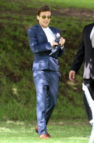 Louis Tomlinson wallpaper containing a business suit called Louis at Johannah and Dan's wedding. 20/07/14