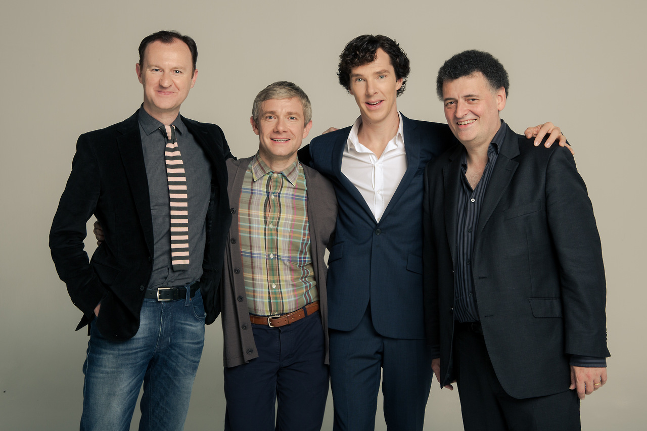 Mark Gatiss, Martin Freeman, Benedict Cumberbatch and Steven Moffat